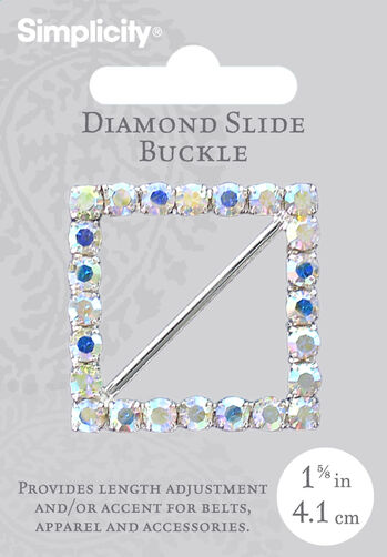 Square Crystal Buckle 1 5/8""