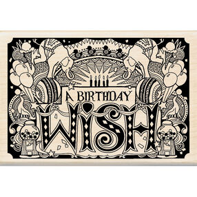 Patterned Happy Birthday Wood Stamp_60-00958