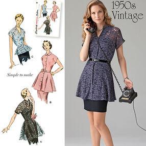 Misses' 1950's Vintage Peplum Tunic & Blouse