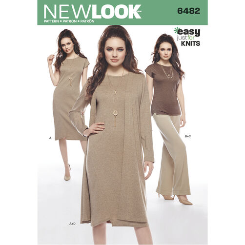 New Look Pattern 6482 Misses' Knit Dress, Tunic, Pants and Duster
