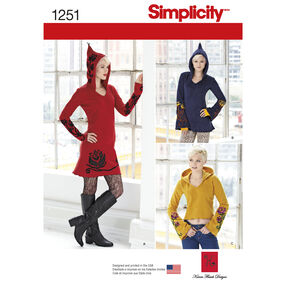 Simplicity Pattern 1251 Misses' Knit Dress, Tunic and Top