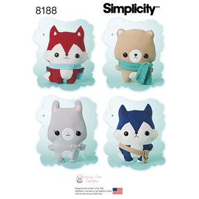 Pattern 8188 Stuffed Fox, Wolf, Bear and Bunny