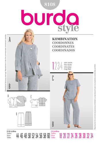 Burda Style Pattern 8108 Coordinates
