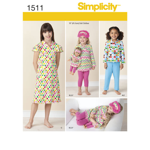 "Simplicity Pattern 1511 Child and 18"" Doll Matching Loungewear"