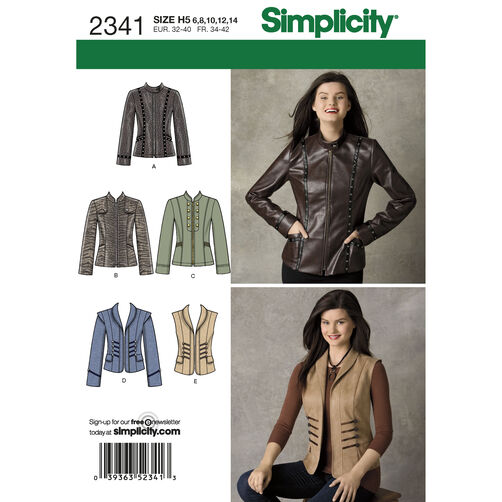 Simplicity Pattern 2341 Misses' Jackets