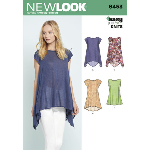 New Look Pattern 6453 Misses' Easy Knit Tops