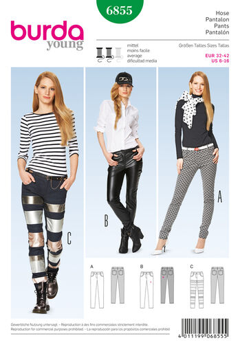 Burda Style Pattern 6855 Pants, Jumpsuit