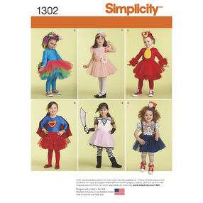 Simplicity Pattern 1302 Toddlers' Costume with Knit Leggings