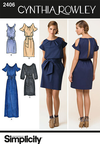 Simplicity Pattern 2406 Misses' Dresses. Cynthia Rowley Collection