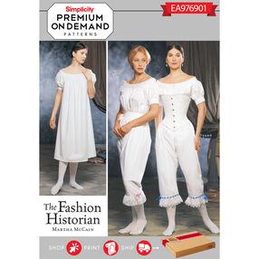 Simplicity Pattern EA976901 Premium Print on Demand Misses' Civil War Undergarments