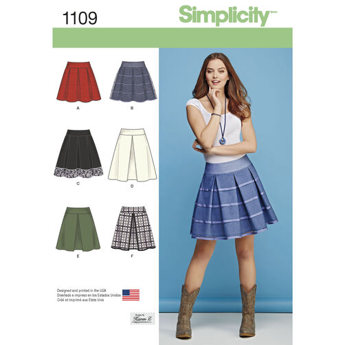 Simplicity Pattern 1109 Misses' Skirts with Length and Trim Variations