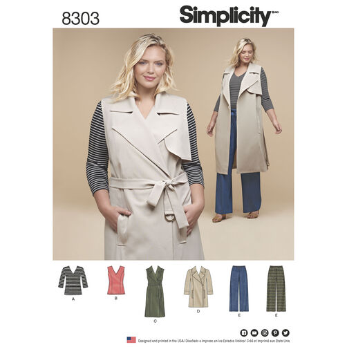 Simplicity Pattern 8303 Women's Knit Tops, Coat or Vest and Pants