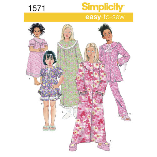 Simplicity Pattern 1571 Child's and Girl's Loungewear Separates