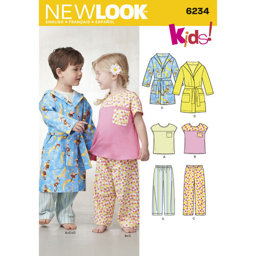 New Look Pattern 6234 Toddlers' Top, Pants and Robe