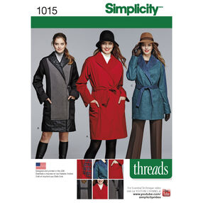 Simplicity Pattern 1015 Miss/Petite Coat or Jacket Threads Magazine Collection