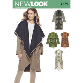New Look Pattern 6474 Misses' Draped Coat or Vest in Two Lengths