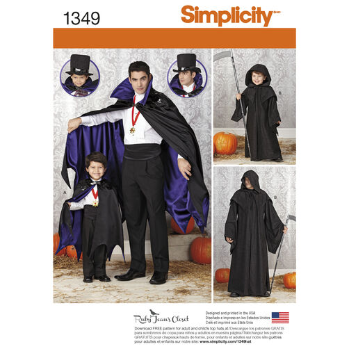 Simplicity Pattern 1349 Boys' and Men's Capes