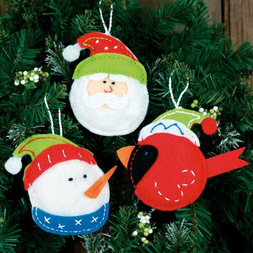 Holiday Trio Ornaments in Felt Applique_72-08193