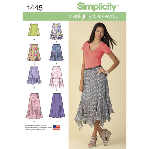 Simplicity Pattern 1445 Misses' Design Your Own Skirt with Length Variations