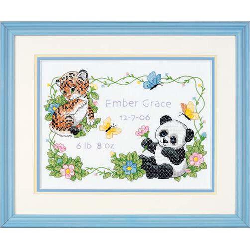 Baby Animals Birth Record, Stamped Cross Stitch_73065