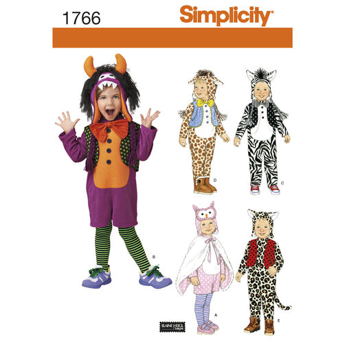 Simplicity Pattern 1766 Toddler's Animal Costumes and Hats