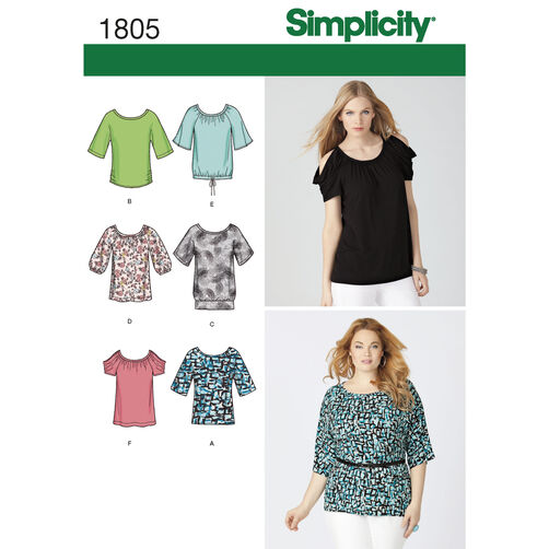 Simplicity Pattern 1805 Misses' & Plus Size Knit Tops