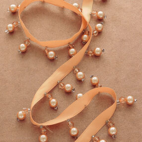 "1"" Ribbon with Pearl Beaded Fringe"