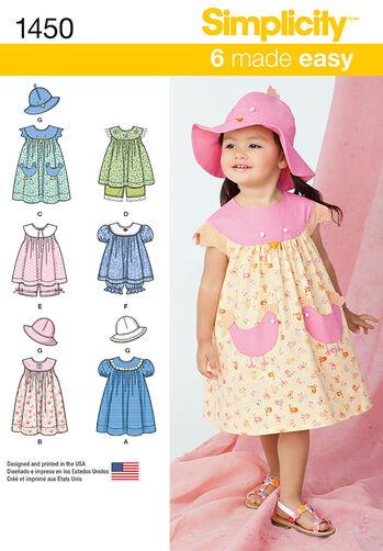 Toddlers' Dress, Top, Panties and Hat