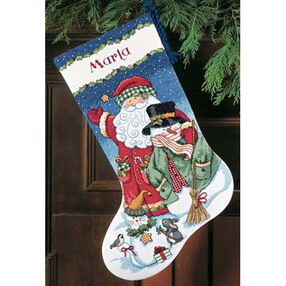 Santa & Snowman Stocking, Counted Cross Stitch_08714