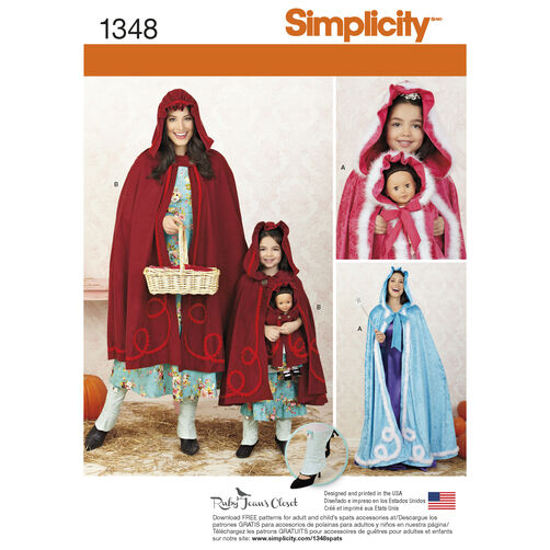 "Simplicity Pattern 1348 Misses', Child's and 18"" Doll Capes"