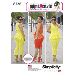 Simplicity Pattern 8136 Mimi G Style Peplum Top with Cropped Pants or Shorts