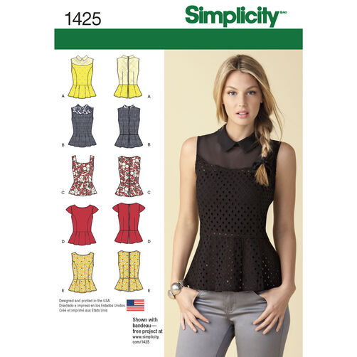 Simplicity Pattern 1425 Misses' Peplum Tops with Neckline Variations