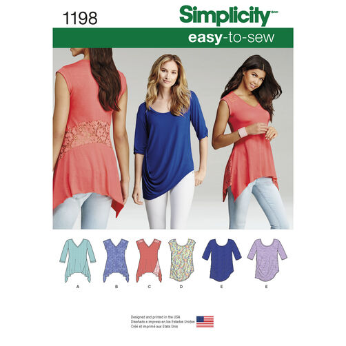 Simplicity Pattern 1198 Misses' Knit Tops in Two Styles