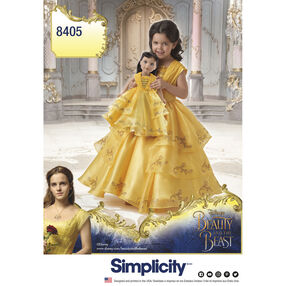 "Simplicity Pattern 8405 Disney Beauty and the Beast Costume for Child and 18"" Doll"