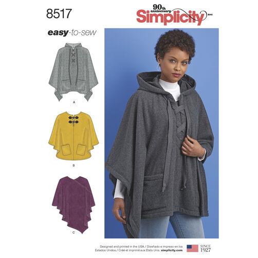 Simplicity Pattern 8517 Misses' Set of Ponchos