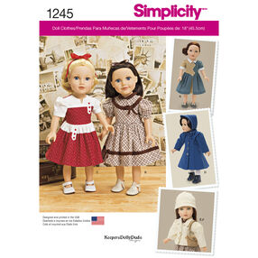 """Simplicity Pattern 1245 Vintage Style 18"""" Doll Clothes"""