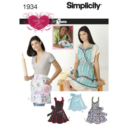 Simplicity Pattern 1934 Misses' Aprons Designed with Love By Sara