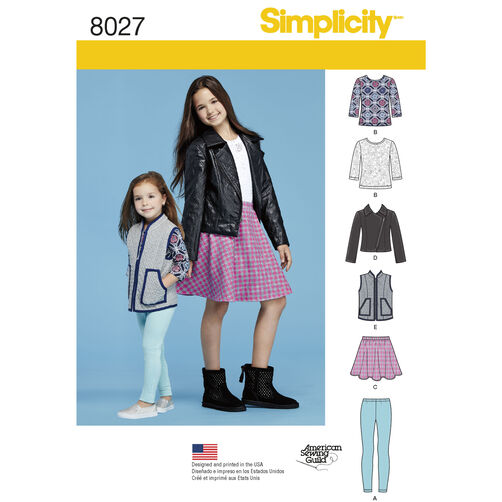 Simplicity Pattern 8027 Child's and Girls' Sportswear Pattern