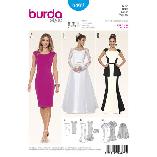 Burda Style Pattern 6869 Evening & Bridal Wear