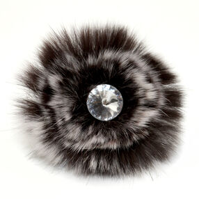 Black Faux Fur Pin & Clip Flower_56-63069