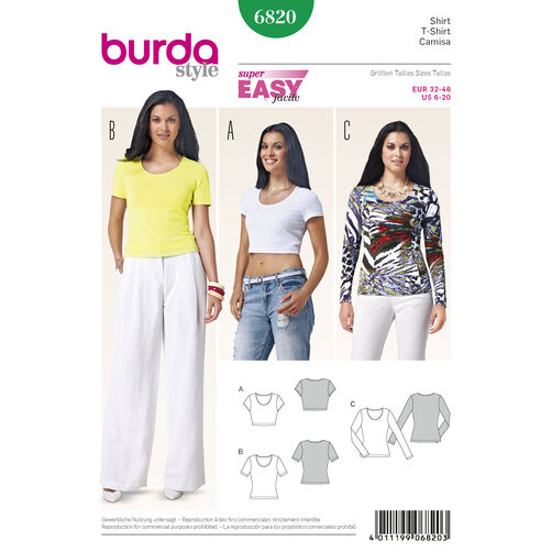Burda Style Pattern 6820 Tops, Shirts, Blouses