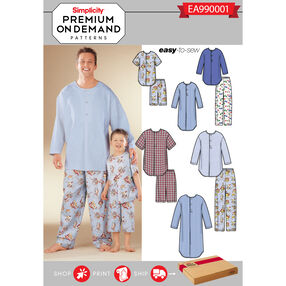 Simplicity Pattern EA990001 Premium Print on Demand Men's/Boys' Cozywear