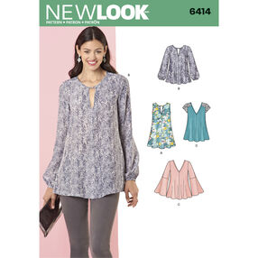 New Look Pattern 6414 Misses' Tunic and Top with Neckline Variations