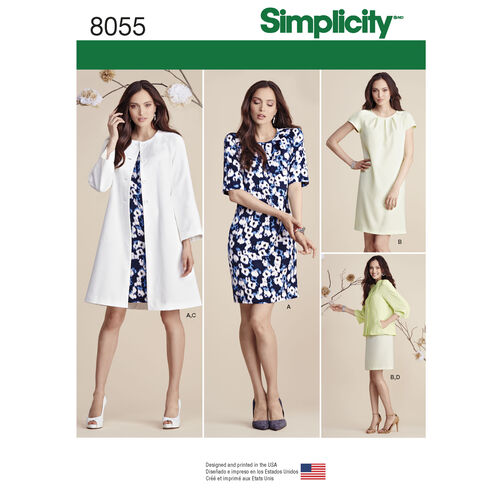 Simplicity Pattern 8055 Misses' Dress and Coat or Jacket