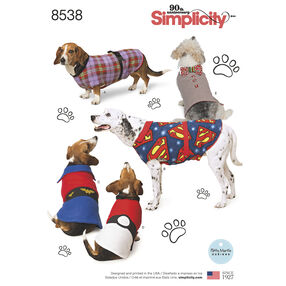 Simplicity Pattern 8538 Dog Coats in Three Sizes