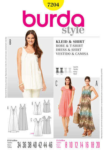 Burda Style Pattern 7204 Dress & T-Shirt