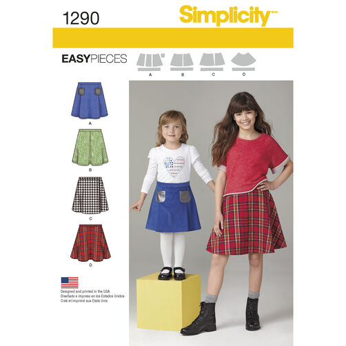 Simplicity Pattern 1290 Child's and Girls' Set of Skirts