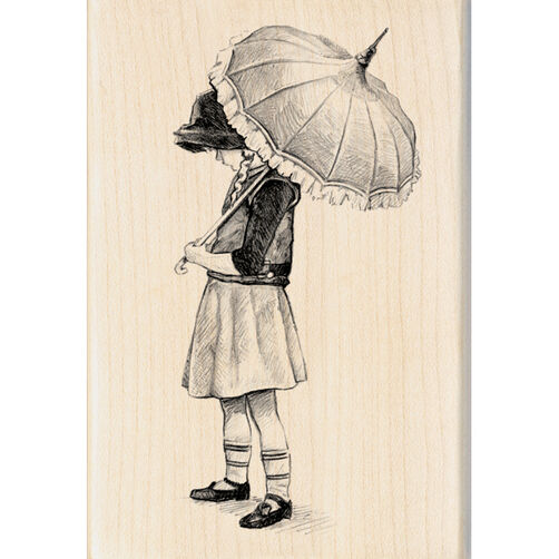 Umbrella Girl Wood Stamp_60-00882