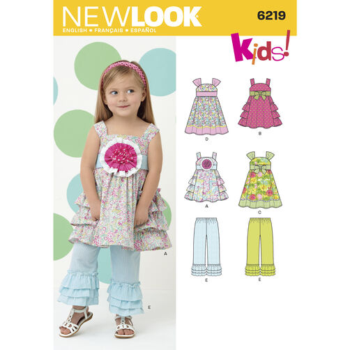 New Look Pattern 6219 Toddlers' Dress and Pants