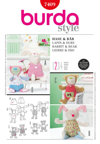 Burda Style Pattern 7409 Rabbit & Bear